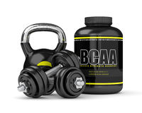 3d render of BCAA powder with dumbbells and kettlebell Royalty Free Stock Image