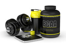 3d render of BCAA powder with dumbbells, scale and shaker Royalty Free Stock Photography