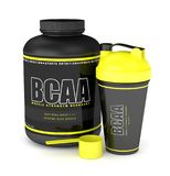 3d render of BCAA powder with dumbbells and shaker Stock Photography