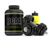 3d render of BCAA powder with dumbbells and water bottle Royalty Free Stock Photo
