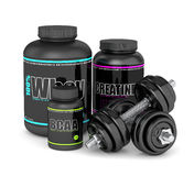 3d render of BCAA, whey and creatine bottles with dumbbells Stock Image