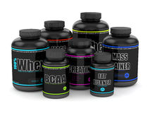 3d render of BCAA, whey, fat burner, creatine and mass gainer Royalty Free Stock Photo