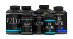3d render of BCAA, whey, fat burner, mass gainer and creatine Stock Photography