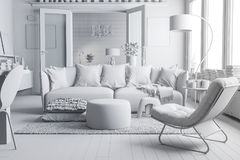 3d render of beautiful clean interior. 3d render of beautiful modern clean interior royalty free illustration