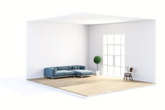 3d render of beautiful clean room. Design concept Stock Images