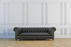 3d render of beautiful clean vintage interior with leather couch. 3d render of beautiful and clean vintage interior with leather couch Royalty Free Stock Photography