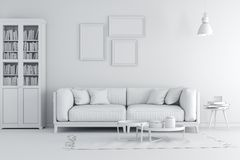 3d render of beautiful clean white interior Royalty Free Stock Images