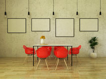 3D render of beautiful dining table with bright red chairs Royalty Free Stock Photo