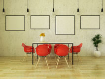 3D render of beautiful dining table with red chairs. Beautiful dining table with red chairs on wooden floor in front of a concrete wall with picture frames and Royalty Free Stock Photo