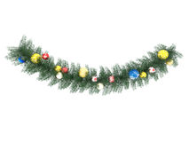3D render of a beautiful holiday multicolor decorations and wreath decoration on white background Royalty Free Stock Photography