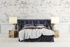 3d render of beautiful industrial style bedroom. Setup royalty free illustration