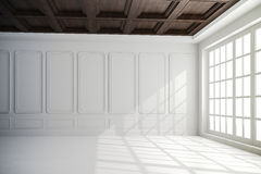 3d render of beautiful interior with white walls and wood ceiling stock illustration