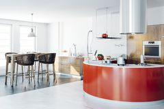 3d render of beautiful kitchen interior. 3d render of beautiful clean kitchen interior stock illustration