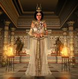 Last Egyptian Pharaoh Cleopatra holding signs of power. 3d render of the beautiful last Egyptian Princess, Queen, Pharaoh, Cleopatra, in a richly decorated Royalty Free Stock Photos