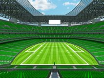Modern American football Stadium with geen seats. 3D render of beautiful modern large empty American football stadium with green seats and VIP boxes for hundred Royalty Free Stock Images