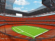 Modern American football Stadium with orange seats. 3D render of beautiful modern large empty American football stadium with orange seats and VIP boxes for Stock Images