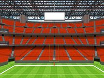 Modern American football Stadium with orange seats. 3D render of beautiful modern large empty American football stadium with orange seats and VIP boxes for Stock Photo