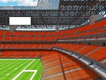 Modern American football Stadium with orange seats. 3D render of beautiful modern large empty American football stadium with orange seats and VIP boxes for Royalty Free Stock Photography