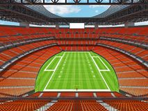 Modern American football Stadium with orange seats. 3D render of beautiful modern large empty American football stadium with orange seats and VIP boxes for Royalty Free Stock Image