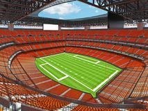 Modern American football Stadium with orange seats. 3D render of beautiful modern large empty American football stadium with orange seats and VIP boxes for Royalty Free Stock Photo