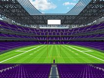 Modern American football Stadium with purple seats. 3D render of beautiful modern large empty American football stadium with purple seats and VIP boxes for Royalty Free Stock Photography