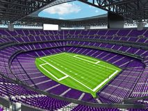 Modern American football Stadium with purple seats. 3D render of beautiful modern large empty American football stadium with purple seats and VIP boxes for Stock Photos