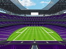 Modern American football Stadium with purple seats. 3D render of beautiful modern large empty American football stadium with purple seats and VIP boxes for Royalty Free Stock Image