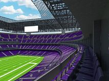 Modern American football Stadium with purple seats. 3D render of beautiful modern large empty American football stadium with purple seats and VIP boxes for Stock Image