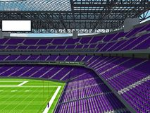 Modern American football Stadium with purple seats. 3D render of beautiful modern large empty American football stadium with purple seats and VIP boxes for Stock Photography