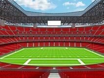 Modern American football Stadium with red seats Stock Photo