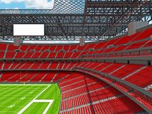 Modern American football Stadium with red seats. 3D render of beautiful modern large empty American football stadium with red seats and VIP boxes for hundred Royalty Free Stock Photos