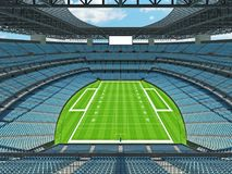 Modern American football Stadium with sky blue seats. 3D render of beautiful modern large empty American football stadium with sky blue seats and VIP boxes for Stock Photography