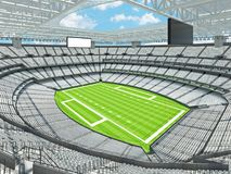 Modern American football Stadium with white seats. 3D render of beautiful modern large empty American football stadium with white seats and VIP boxes for hundred Stock Images