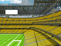 Modern American football Stadium with yellow seats. 3D render of beautiful modern large empty American football stadium with yellow seats and VIP boxes for Royalty Free Stock Photos
