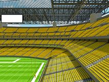 Modern American football Stadium with yellow seats. 3D render of beautiful modern large empty American football stadium with yellow seats and VIP boxes for Royalty Free Stock Photo