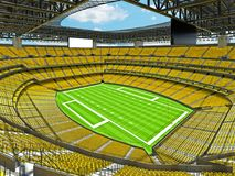 Modern American football Stadium with yellow seats Royalty Free Stock Photo