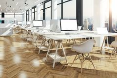 3d render of beautiful modern office interior. Setup stock illustration
