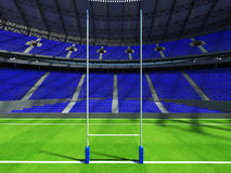 3D render of beautiful modern round rugby stadium with  blue seats and VIP boxes Stock Image