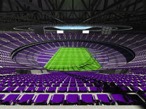 3D render of beautiful modern round rugby stadium with purple seats and VIP boxes Royalty Free Stock Photography