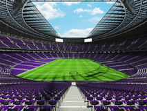 3D render of beautiful modern round rugby stadium with purple seats and VIP boxes Royalty Free Stock Images