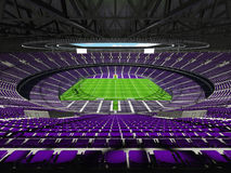 3D render of beautiful modern round rugby stadium with purple seats and VIP boxes Stock Photo