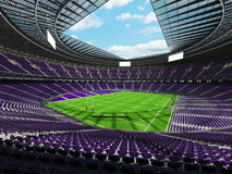 3D render of beautiful modern round rugby stadium with purple seats and VIP boxes Royalty Free Stock Image