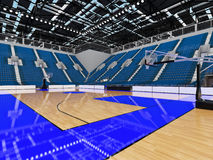 3D render of beautiful modern sports arena for basketball with blue seats Royalty Free Stock Photography