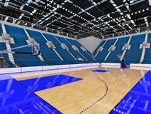 3D render of beautiful modern sports arena for basketball with blue seats Stock Photo