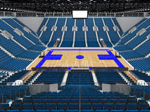 3D render of beautiful modern sports arena for basketball with blue seats Royalty Free Stock Photos