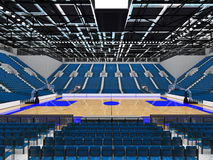 3D render of beautiful modern sports arena for basketball with blue seats Stock Photography