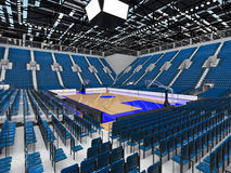 3D render of beautiful modern sports arena for basketball with blue seats Stock Image
