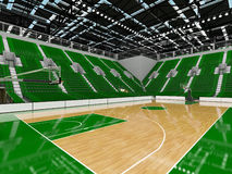 3D render of beautiful modern sports arena for basketball with green seats Royalty Free Stock Photography