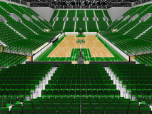 3D render of beautiful modern sports arena for basketball with green seats Royalty Free Stock Image