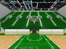 3D render of beautiful modern sports arena for basketball with green seats Stock Photos